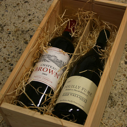 gift example: wooden box with 2 bottles of fine wine