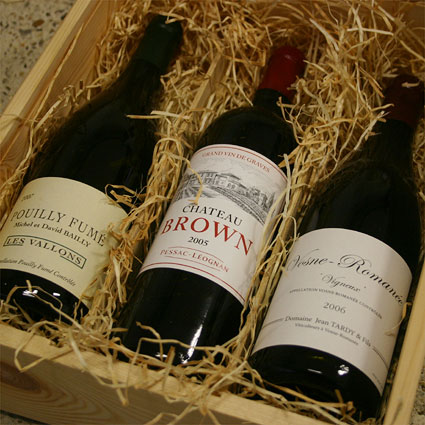 gift example: wooden box with 3 bottles of fine wine
