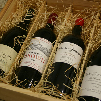 gift example: wooden box with 4 bottles of fine wine